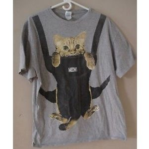 32e1f3c6488 Delta Pro Weight Shirts - Funny Meow Kitty Cat Baby Carrier Graphic T Shirt